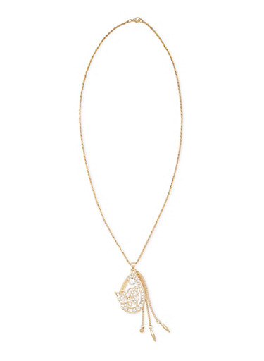 Necklace with Geo Butterfly Pendant,GOLD,large