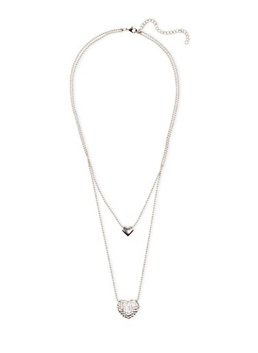 Tiered Pendant Necklace with Hearts and Crystals,SILVER,large