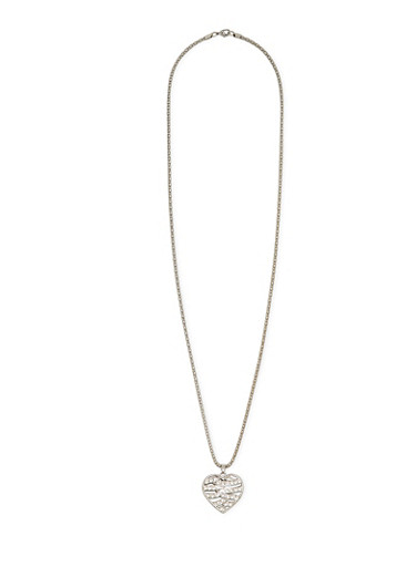 Necklace with Studded Heart Pendant,SILVER,large