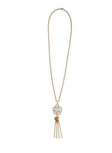 Necklace with Studded Flower Pendant,GOLD,large
