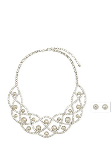 Stud Earrings and Bib Necklace Set,SILVER,large