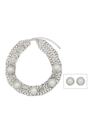 Curb Chain Necklace and Earring Set with Faux Pearls,SILVER,large