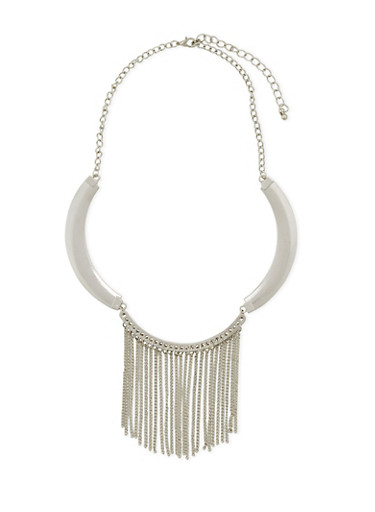 Collar Necklace with Fringe Accents,SILVER,large