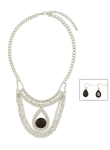 Drop Earrings and Bib Necklace Set,SILVER,large