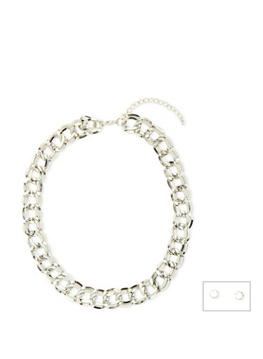 Chain Link Necklace and Crystal Stud Set,SILVER,large
