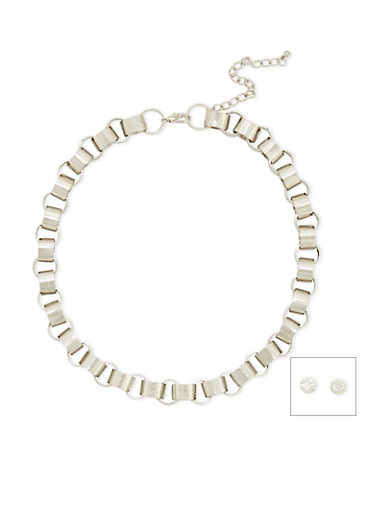 Loop Chain Necklace with Crystal Studs,SILVER,large