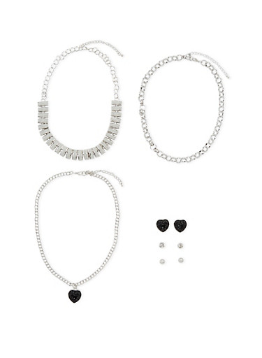 Set of 3 Necklaces and 3 Stud Earrings,SILVER,large