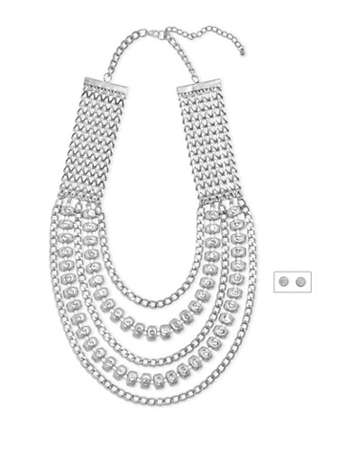 Multi Strand Necklace and Earrings Set,SILVER,large