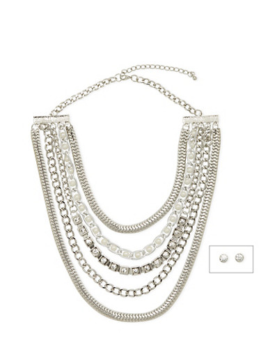 Multi Strand Necklace and Crystal Stud Set,SILVER,large