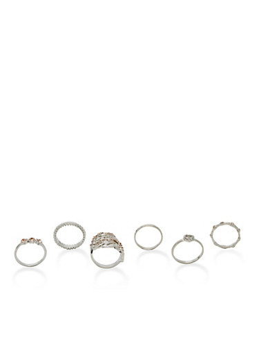 Set of 5 Rings,SILVER,large