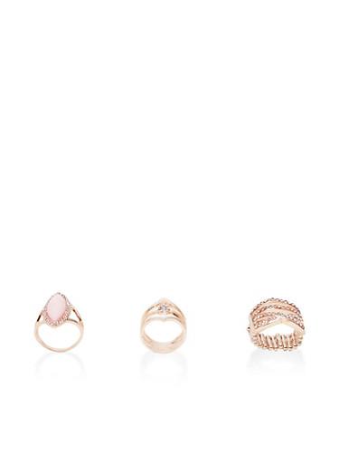 Set of 3 Large Rings,ROSE,large