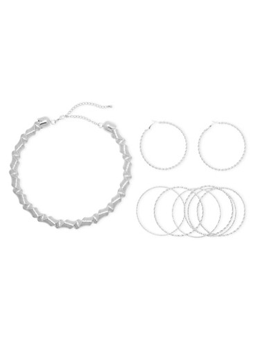Collar Necklace with Hoop Earrings and 6 Bangles,SILVER,large