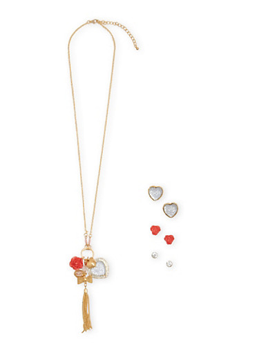 Assorted Stud Earrings and Charm Necklace Set,CORAL,large
