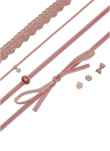 Trio Assorted Choker and Earring Set,BLUSH,large
