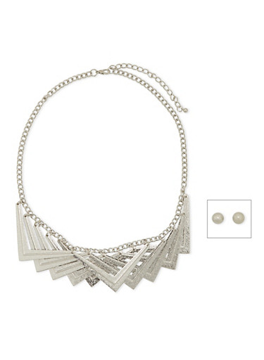Architectural Necklace and Stud Earrings Set,SILVER,large