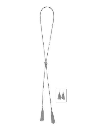 Long Rope Necklace and Fringe Earrings Set,SILVER,large