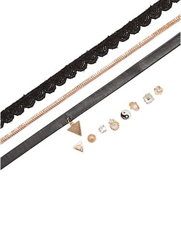 Trio Choker Set with Stud Earrings,BLACK,large