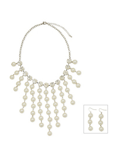 Bib Necklace and Chandelier Earrings with Faux Pearls and Crystals,SILVER,large