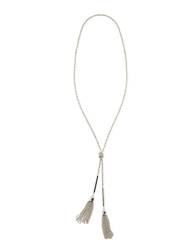 Knotted Necklace with Tassels,SILVER,large