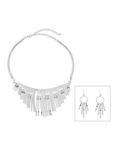 Metallic Collar Necklace and Drop Earrings Set,SILVER,large