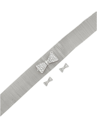 Metallic Mesh Bow Choker with Matching Stud Earrings,SILVER,large