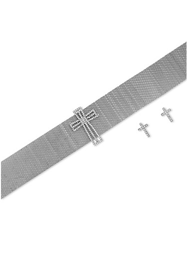 Cross Metallic Mesh Choker and Stud Earrings Set,SILVER,large