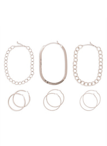 Textured Metallic Necklaces and Hoop Earrings Set,SILVER,large