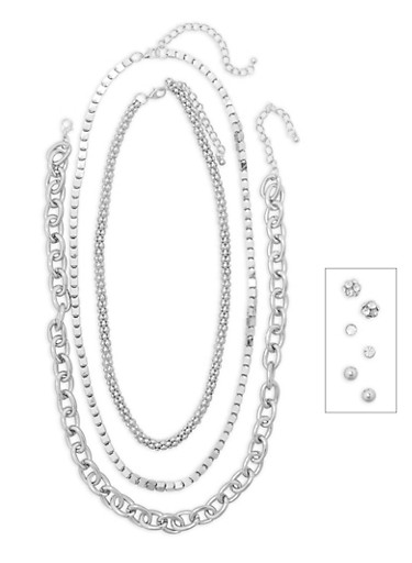 Metallic Necklaces and Stud Earrings Set,SILVER,large