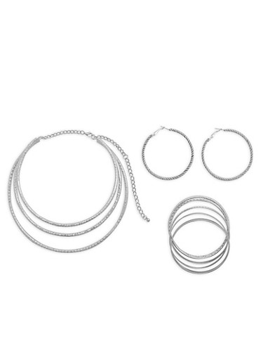 Textured Collar Necklace with Bangles and Hoop Earrings,SILVER,large