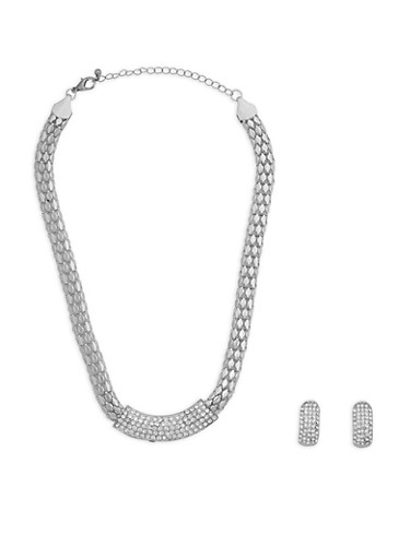 Metallic Rhinestone Necklace with Earrings,SILVER,large