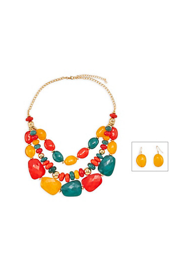Large Multi Beaded Necklace and Drop Earrings,MULTI COLOR,large