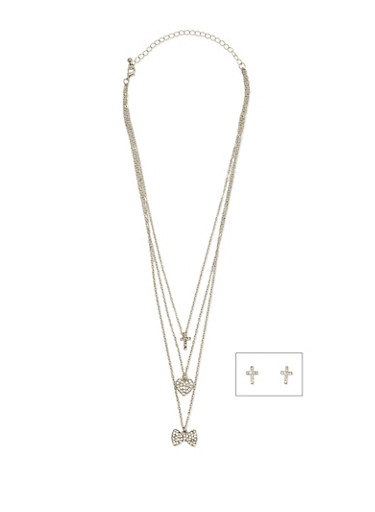 Layered Rhinestone Pendant Necklace with Stud Earrings,SILVER,large