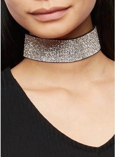 Wide Rhinestone Choker with Stud Earrings Set,BLACK,large