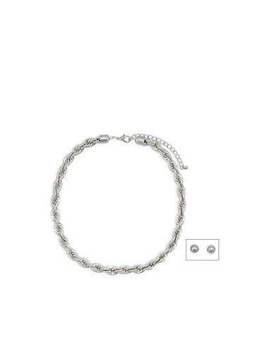 Metallic Rope Necklace with Stud Earrings,SILVER,large
