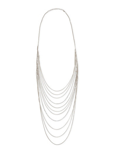 Long Layered Rhinestone and Chain Necklace,SILVER,large