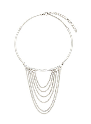 Collar Necklace with Crystal Accents and Tiered Chains,SILVER,large