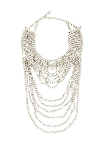 Chain-Link Necklace with Bound Multi-Strands,SILVER,large