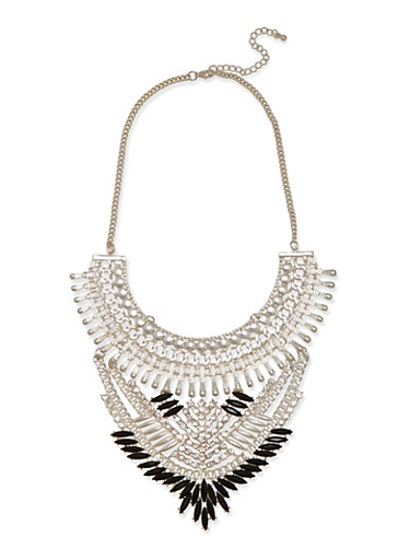 Tribal Bib Necklace with Crystal Embellishments,SILVER,large