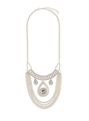 Bib Necklace with Crystal Embellishments,SILVER,large