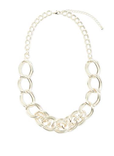 Curb Chain Necklace with Rhinestone Accents,SILVER,large