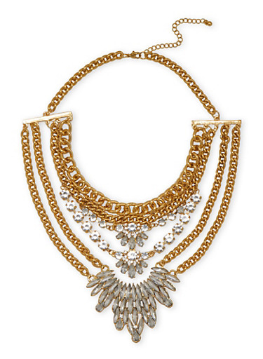 Tiered Bib Necklace with Crystal Accents,GOLD,large