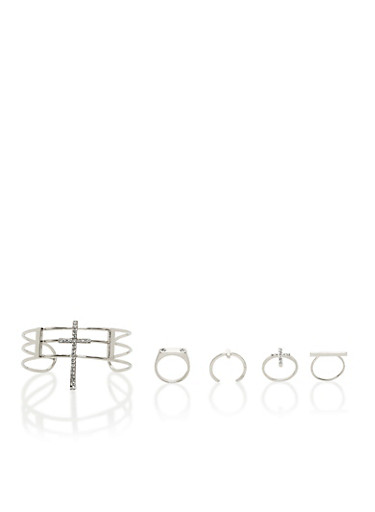 Set of 4 Rings and Bracelet with Cross Motif,SILVER,large