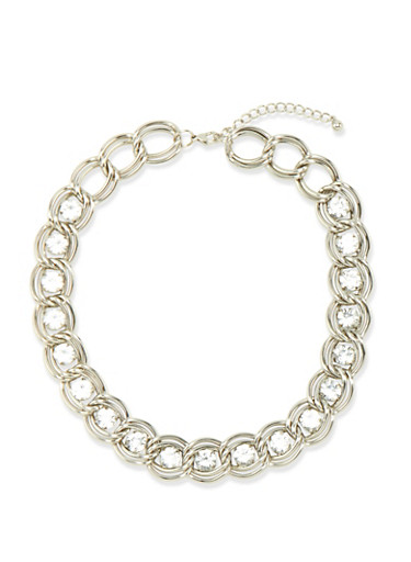 Curb Chain Necklace with Rhinestones,SILVER,large