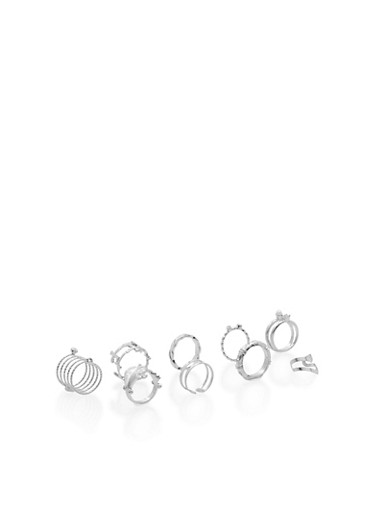 Set of 9 Assorted Rings,SILVER,large