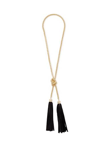 Double Tassel Necklace,BLACK,large
