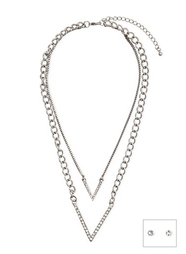 Small Stud Earrings and Layered V Necklace,SILVER,large