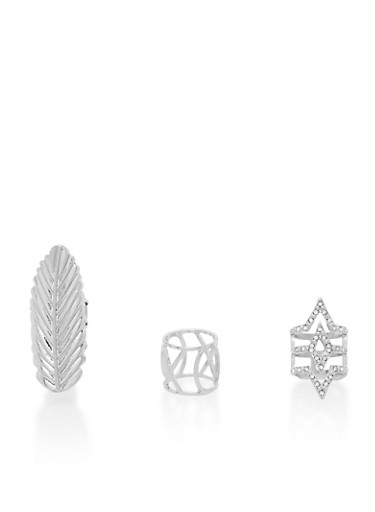 3 Ring Set with Feather and Geometric Designs,SILVER,large