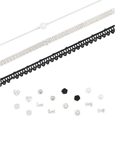 Choker Trio with 8 Assorted Earrings Set,SILVER,large