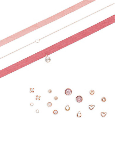 Choker Trio with 8 Assorted Earrings Set,ROSE,large