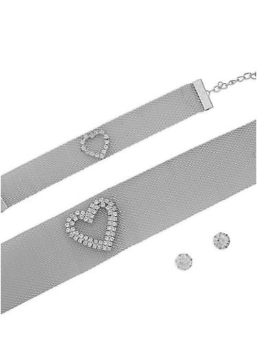 Metallic Mesh Heart Choker and Stud Earrings,SILVER,large